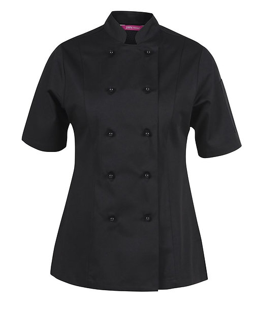 Ladies Vented SS Chef's Jacket - Black