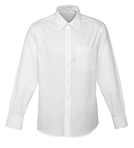 Mens 100% Cotton Luxe LS Shirt - White