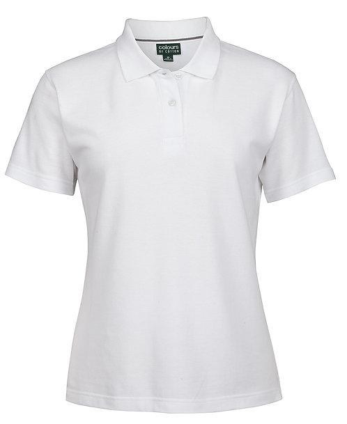 Ladies 100% Cotton Pique Polo Shirt -White