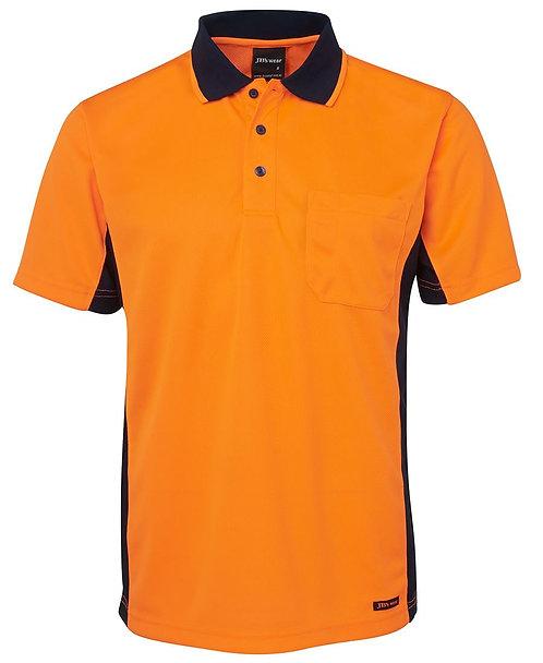 Hi Vis S/S Sport Polo - Orange/Navy