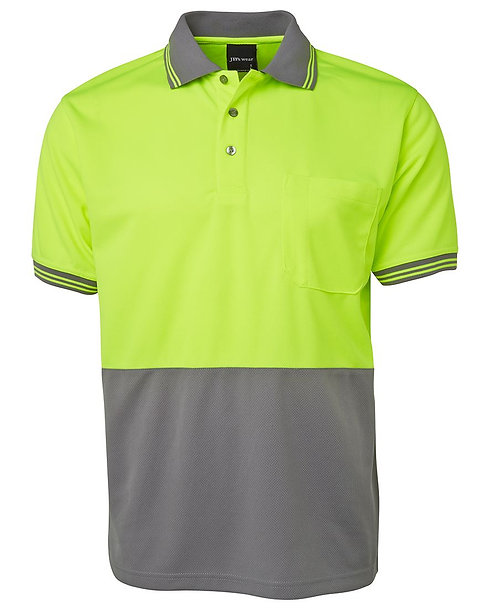 Hi-Vis S/S Traditional Polo - Lime/Grey