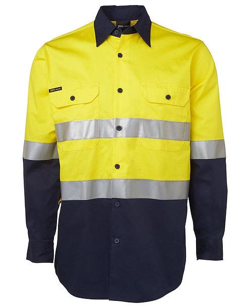 Hi Vis L/S (D+N) 150G Work Shirt - Yellow/Navy