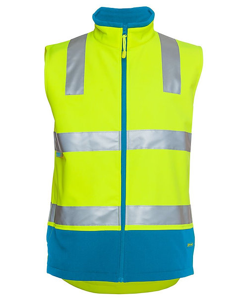 Hi-Vis Softshell Vest (D+N) - Lime/Aqua