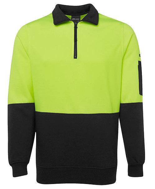 Hi Vis 1/2 Zip Fleecy Sweat - Lime/Black