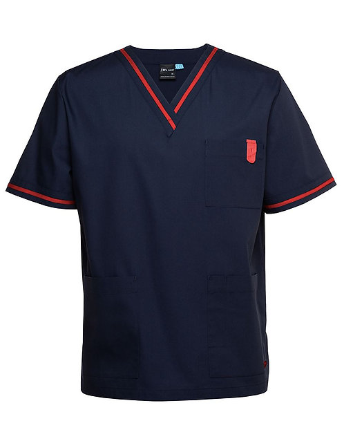 Unisex Contrast Essential Scrubs Top - Navy/Red