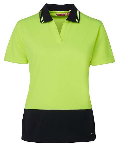 Womens Hi-Vis Ladies S/S Non Button Polo Shirt - Lime/Navy