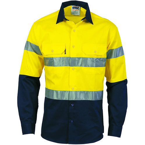Hi Vis (D+N) 190gsm Cotton Drill LS Work Shirt - Yellow/Navy