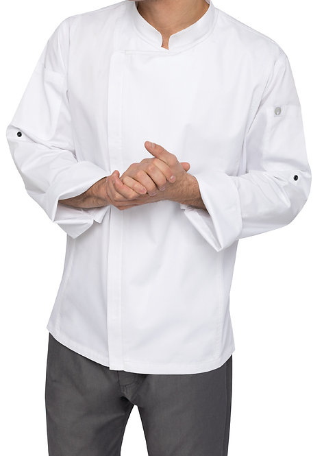 Mens Hartford Zipper Chef Jacket - White