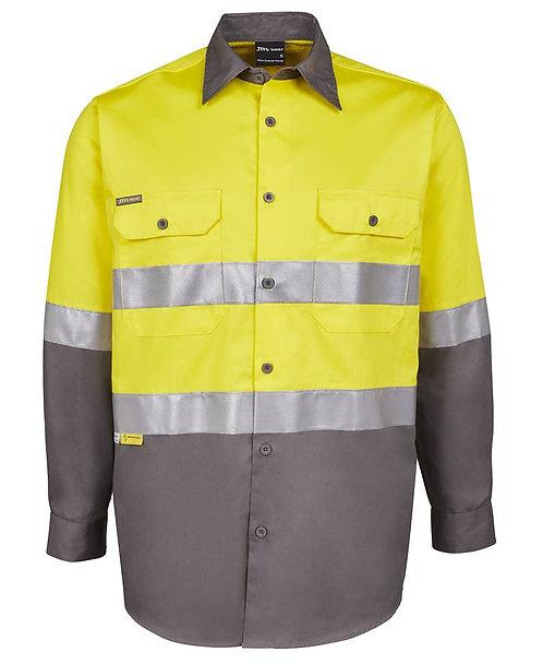 Hi Vis L/S (D+N) 150G Work Shirt - Yellow/Charcoal