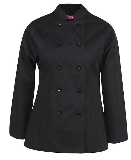 Ladies Vented L/S Chef's Jacket - Black