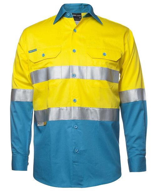 Hi Vis L/S (D+N) 150G Work Shirt - Yellow/Aqua