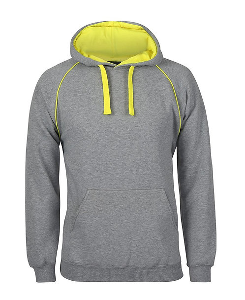 Contrast Fleece Hoodie - Grey/Canary