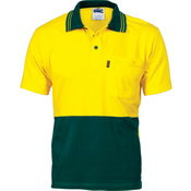 Hi Vis Cool-Breeze S/S Cotton Jersey Polo Shirt Yellow / Green