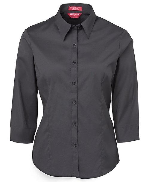 Ladies Urban 3/4 Slv Poplin Shirt - Charcoal