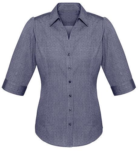 Ladies Trend 3/4 Sleeve Shirt - Navy