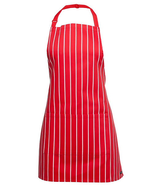 Apron with Pocket (Short) - Red/White