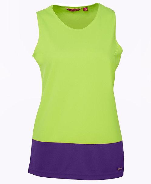 Womens Hi Vis Traditional Singlet - Lime/Purple