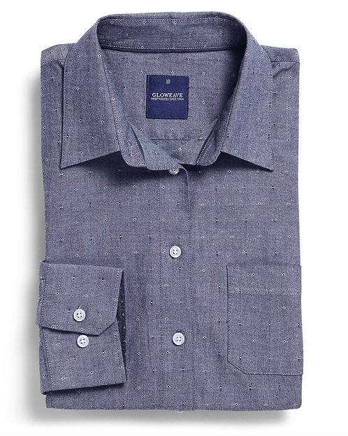 Womens Dobby Spot 100% Cotton Denim Shirt