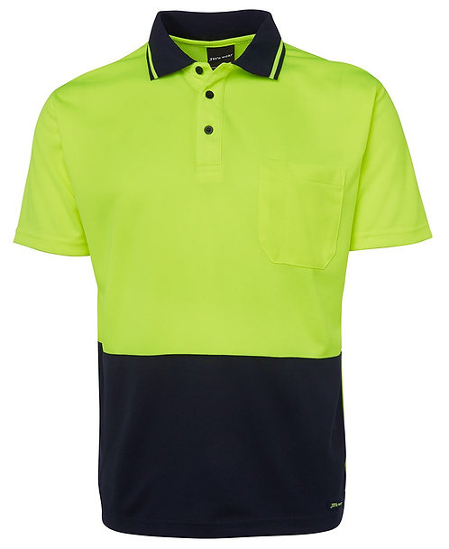 Hi-Vis Non Cuff Traditional Polo - Lime/Navy