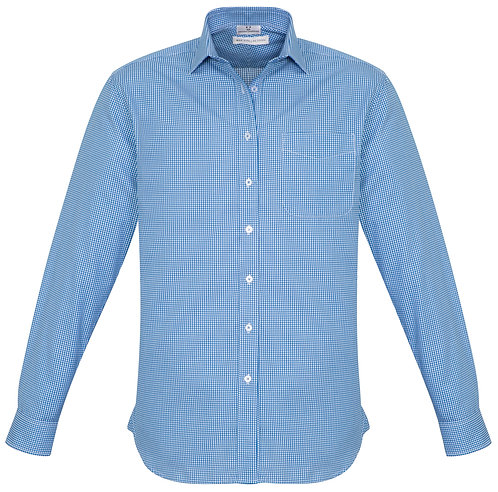 Mens Small Check LS Shirt - French Blue