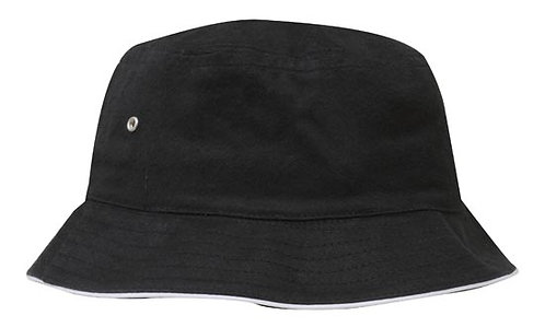 Black / White Brushed Sports Twill Bucket Hat - MOQ 5