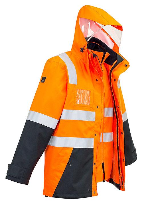 Mens Hi Vis 4 in 1 Waterproof Jacket - Orange/Navy