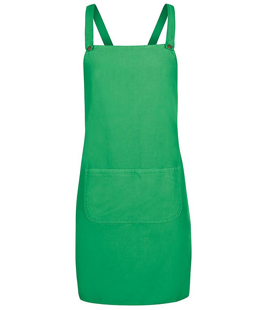 Green Canvas Cross Back Apron with Changeable Straps