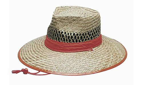 Natural Straw Hat Orange Trim - MOQ 10