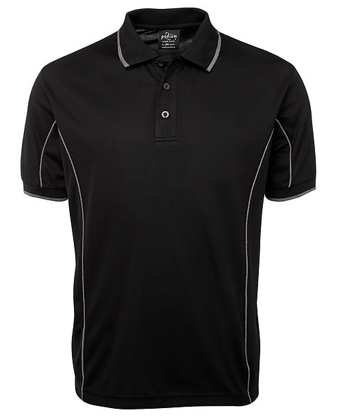 Mens S/S Piping Polo - Black/Grey