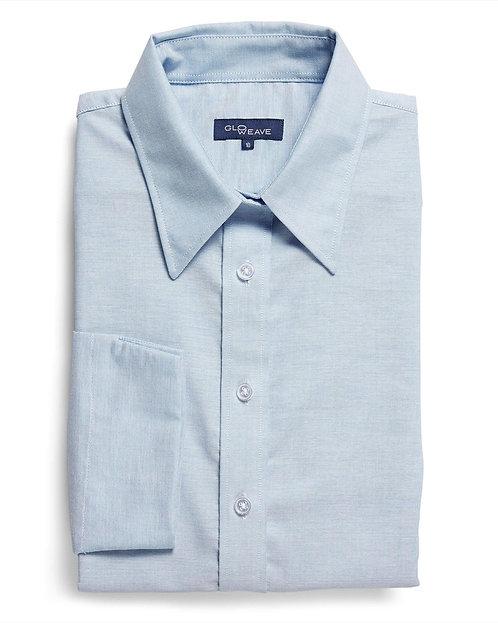 Womens Cotton Rich Oxford 3/4 Shirt- Blue