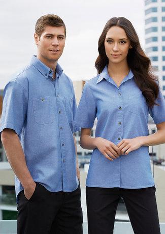 Mens 100% Cotton Chambray SS Shirt