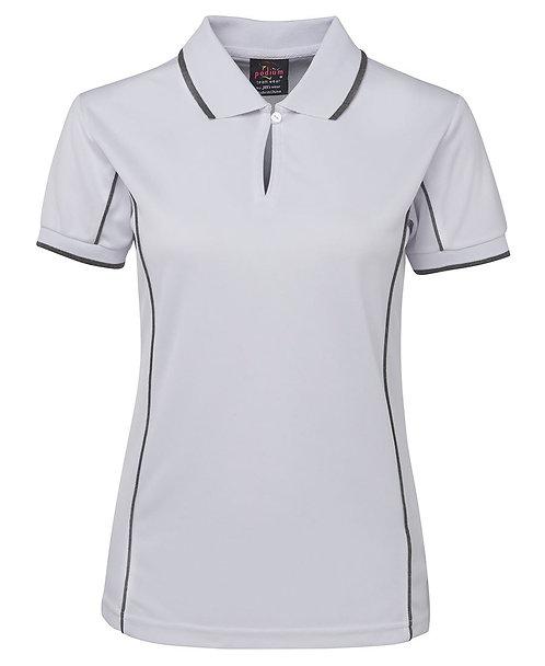 Ladies Piping Polo - White / Grey