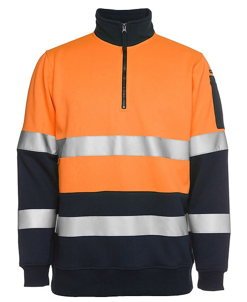 Hi Vis 1/2 Zip (D+N) Fleecy Sweat with Reflective Tape -Orange/Navy