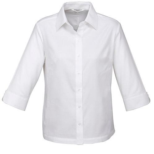 Ladies 3/4 Slv Luxe Shirt - White
