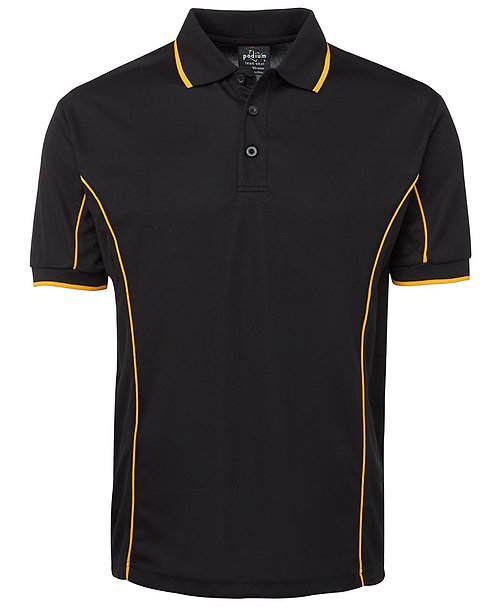 Men's S/S Piping Polo -  Black/Gold