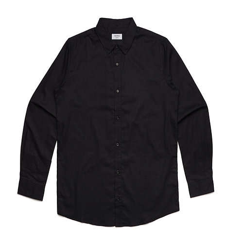 AS Colour Cotton/Linen Shirt Black - Available from