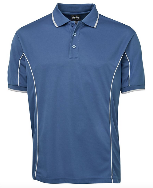 PODIUM S/S PIPING POLO - MID BLUE / NATURAL