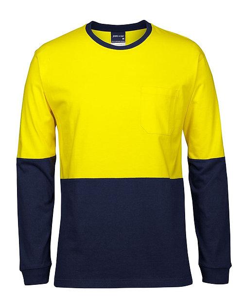 Hi-Vis L/S Crew Neck Cotton T-Shirt - Yellow/Navy