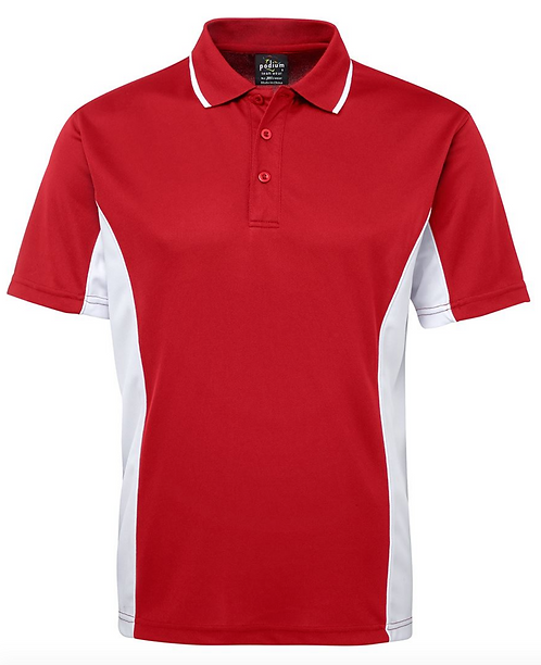 PODIUM CONTRAST POLO - RED / WHITE