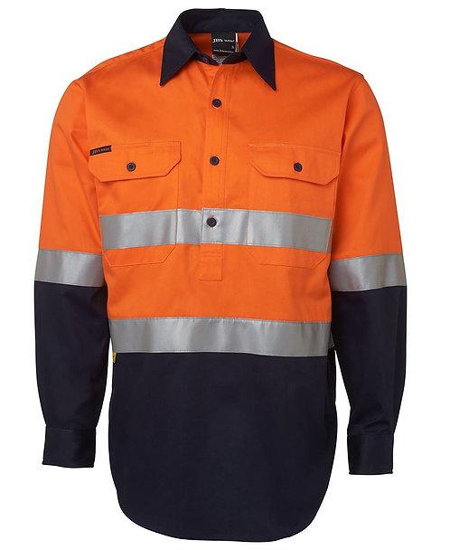 Hi Vis L/S (D+N) 190g Close Front Shirt - Orange/Navy