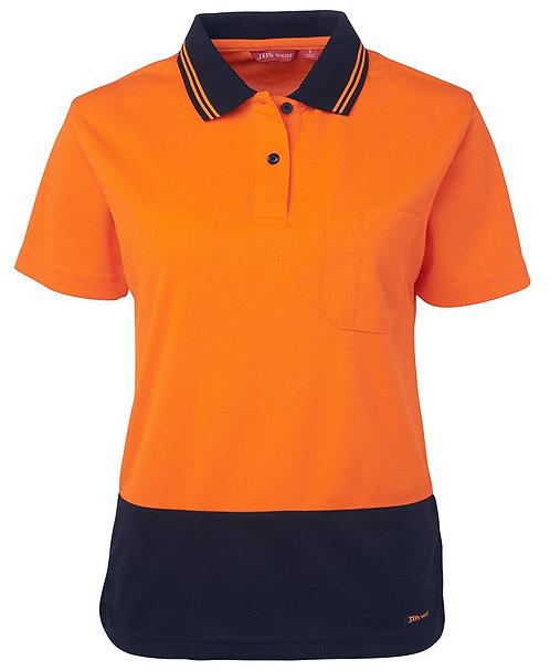 Womens Hi Vis S/S Comfort Polo - Orange/Navy
