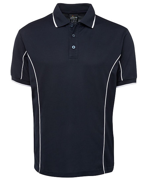 Mens S/S Piping Polo - Navy/White