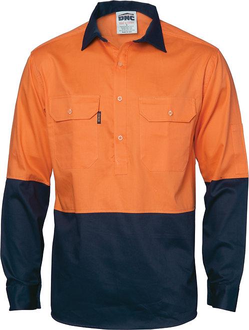 HiVis 2 Tone Cool-Breeze Close Front Cotton Shirt  Long sleeve - Orange/Navy
