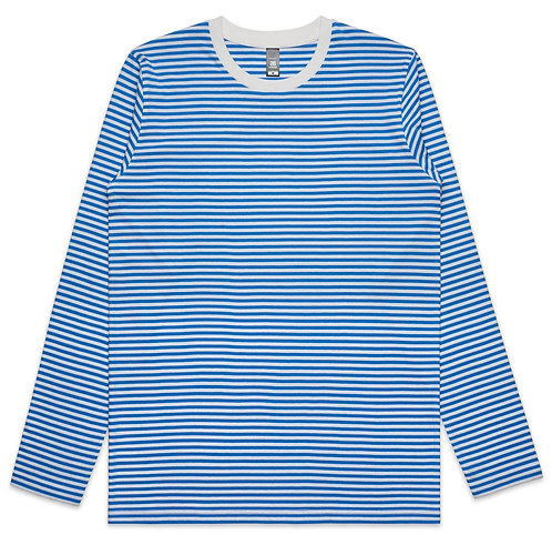 AS Colour Mens Bowery Stripe L/S Tee Natural/Mid Blue: Available From