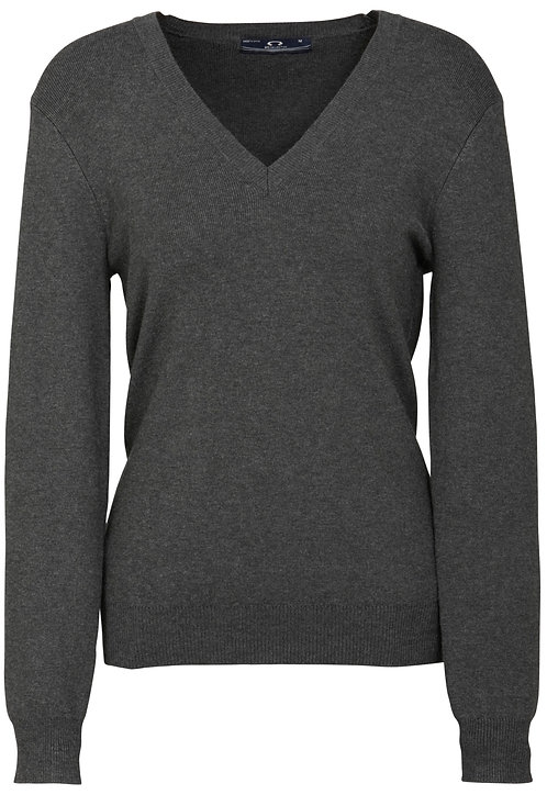 Womens V-Neck Pullover - Charcoal