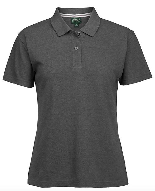 LADIES COLOURS OF COTTON PIQUE POLO - CHARCOAL MARLE