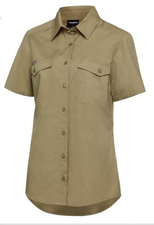 King Gee Womens Workcool 2 Shirt S/S - Khaki
