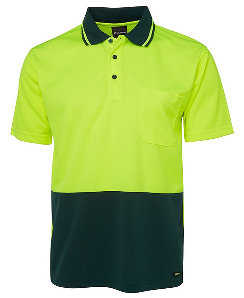 Hi-Vis Non Cuff Traditional Polo - Lime/Bottle