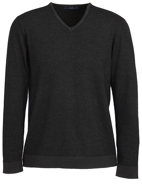 Mens 100% Merino Wool Pullover - Black/Charcoal