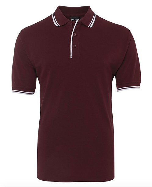CONTRAST POLO - MAROON / WHITE